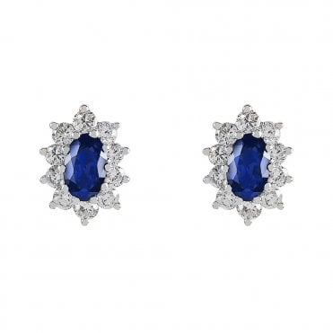 Berry's 18ct White Gold Oval Sapphire & Diamond Cluster Surround Earrings