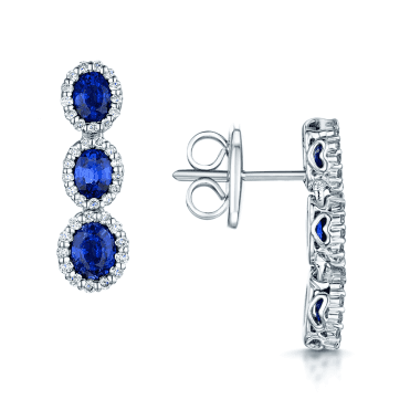 18ct White Gold Oval Sapphire & Diamond Earrings