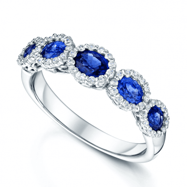 18ct White Gold Oval Sapphire & Diamond Ring