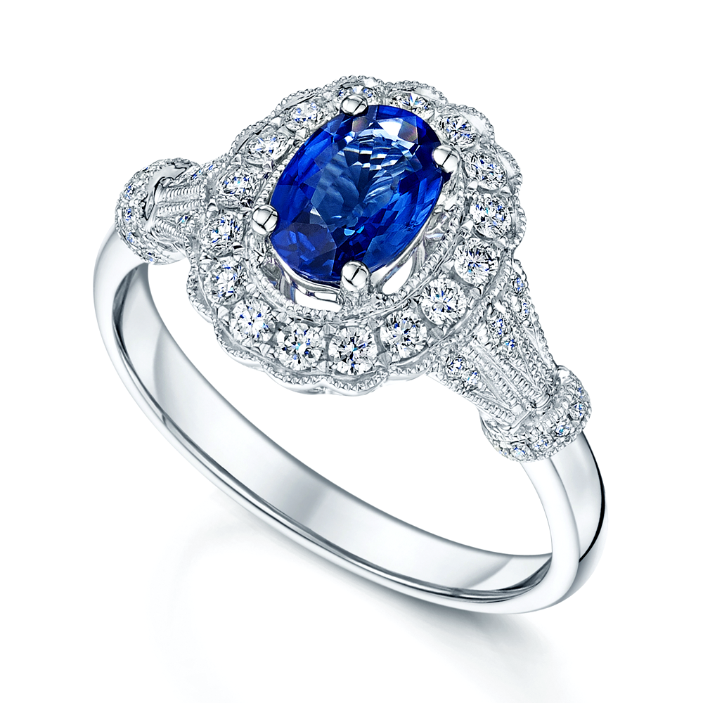 Berry's 18ct White Gold Oval Sapphire & Diamond Set ...