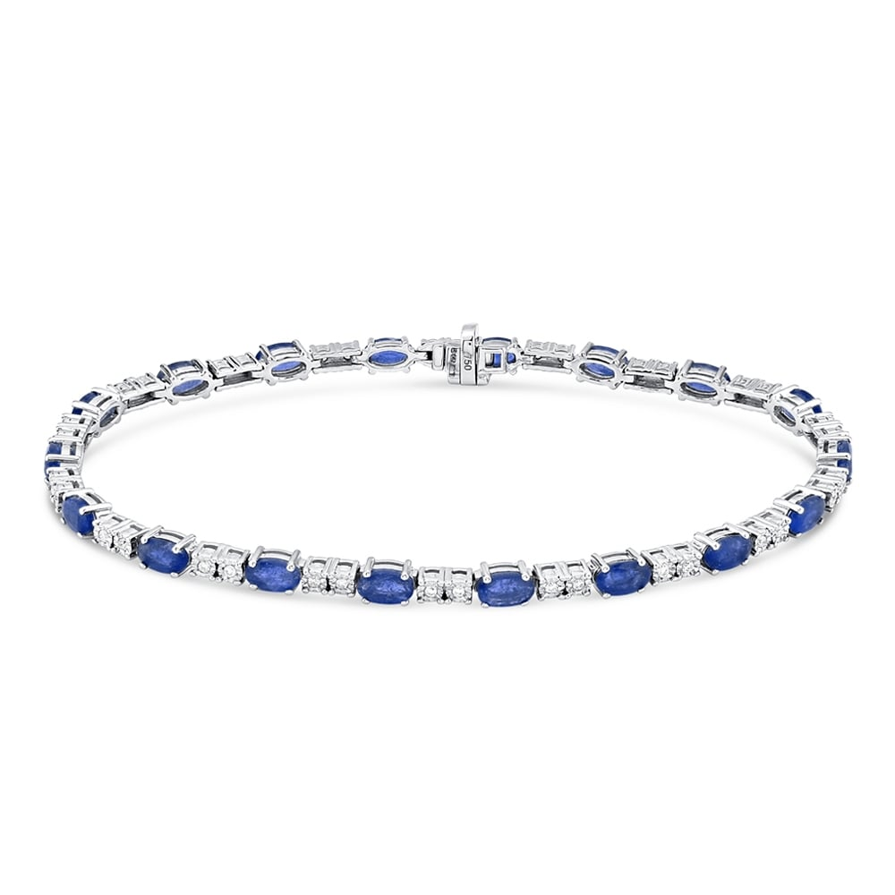 bracelet diamond uk silver sapphire and gold eternity white tennis