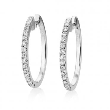 18ct White Gold Oval Shape Half Diamond Set Hoop Earrings