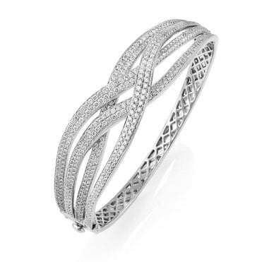 18ct White Gold Pave Set Diamond Crossover Bangle