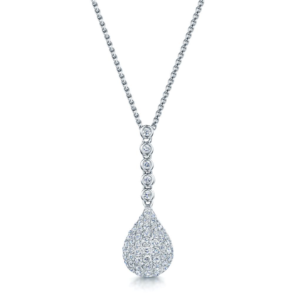 full set teardrop pendant. 18ct White Gold Pave Set Teardrop Diamond Drop Necklace Full Pendant
