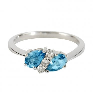 18ct White Gold Pear Cut Blue Topaz & Diamond Dress Ring
