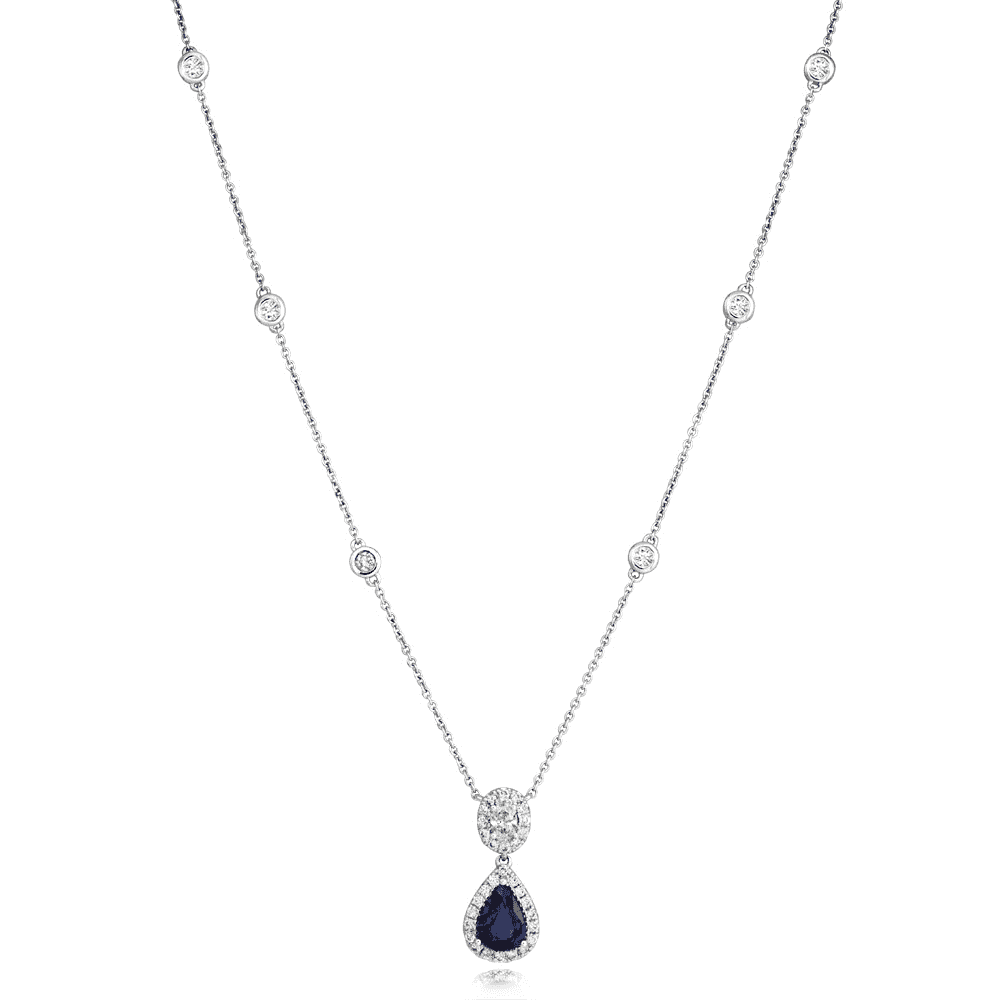 2a5a071ae Berry's Berry's 18ct White Gold Pear Cut Sapphire & Diamond Pendant