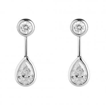 Berry's 18ct White Gold Pear & Round Brilliant Cut Diamond Drop Earrings