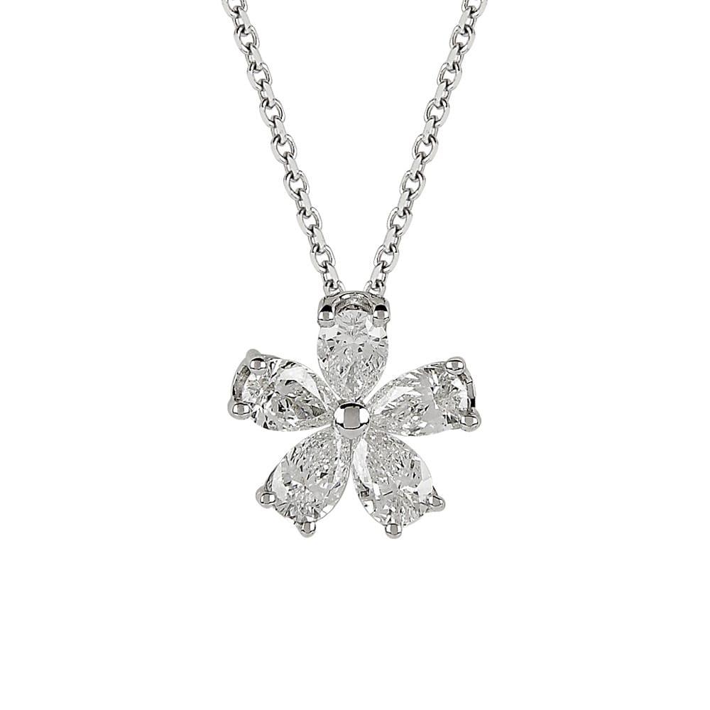 Berry\'s 18ct White Gold Pear Shape Diamond Flower Design Necklace