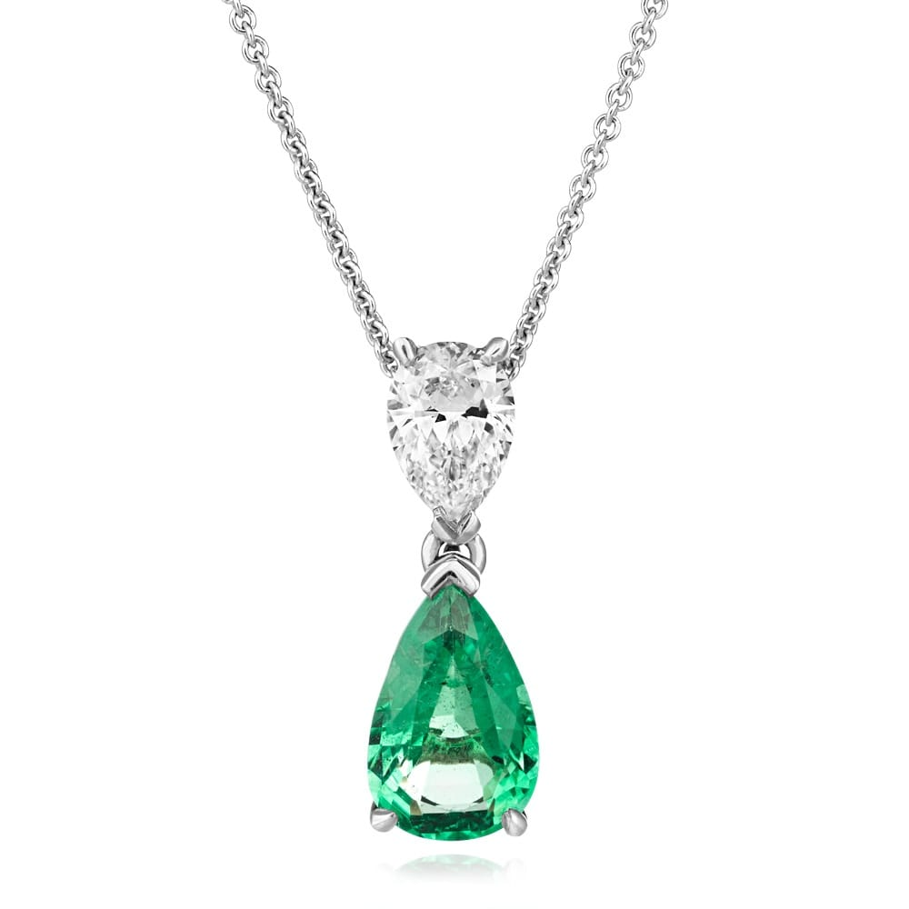 Berry S 18ct White Gold Pear Shape Emerald Amp Diamond Necklace