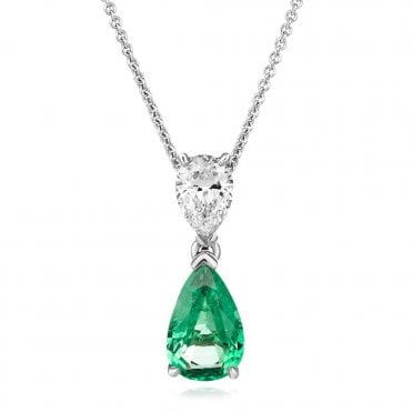 18ct White Gold Pear Shape Emerald & Diamond Pendant