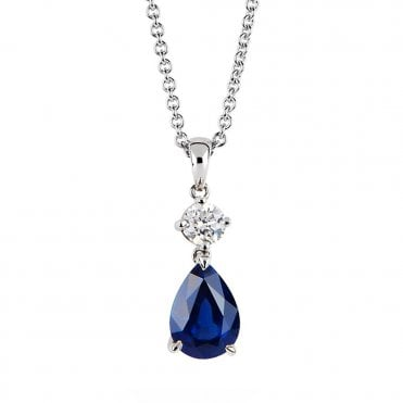 18ct White Gold Pear Shape Sapphire And Diamond Necklace
