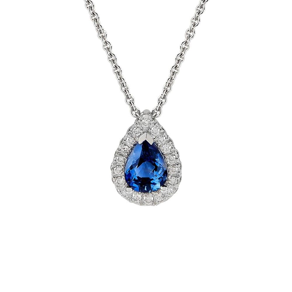 18ct 18ct white gold pear shape sapphire diamond pendant from berrys 18ct white gold pear shape sapphire amp diamond pendant aloadofball Images