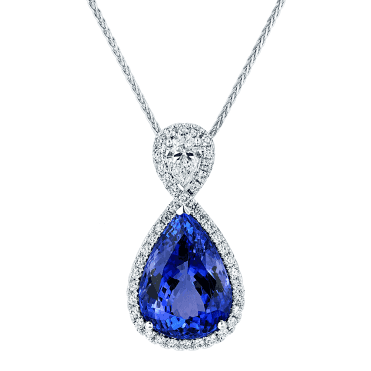 18ct White Gold Pear Shape Tanzanite & GIA Diamond Pendant