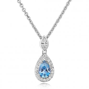 18ct White Gold Pear Shaped Aquamarine & Diamond Necklace