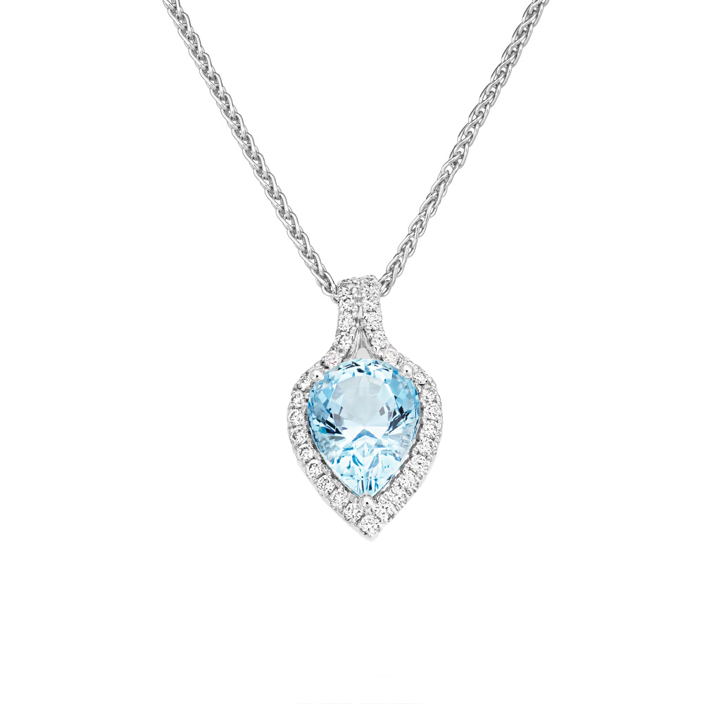 pear set cubic pendant necklace zirconia open shaped silver image