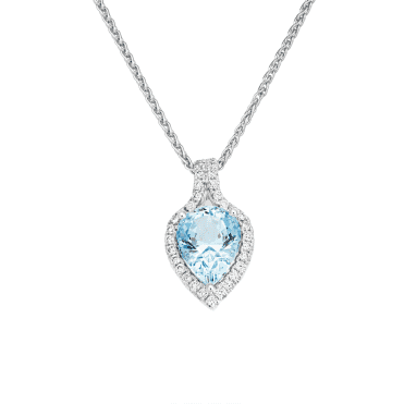 18ct White Gold Pear Shaped Aquamarine and Diamond necklace