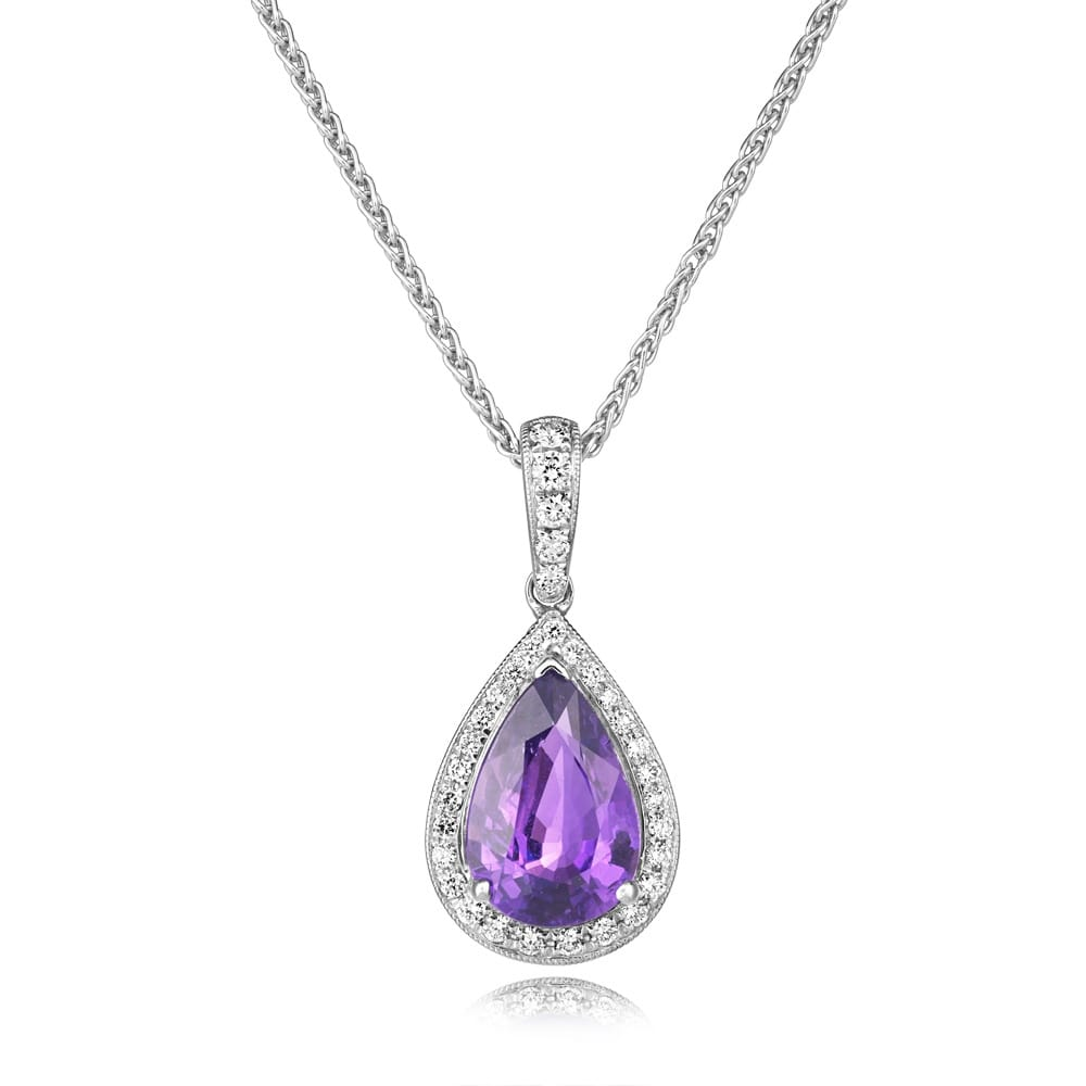 gold diamond shaped white purple pendant image sapphire berrys pear jewellery