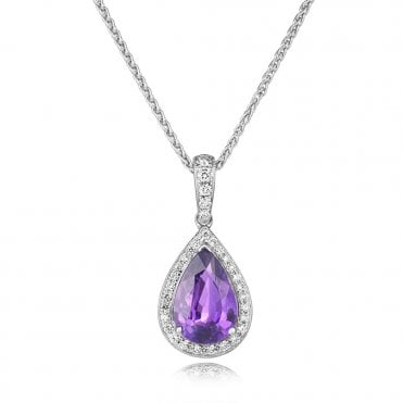 18ct White Gold Pear Shaped Purple Sapphire & Diamond Pendant