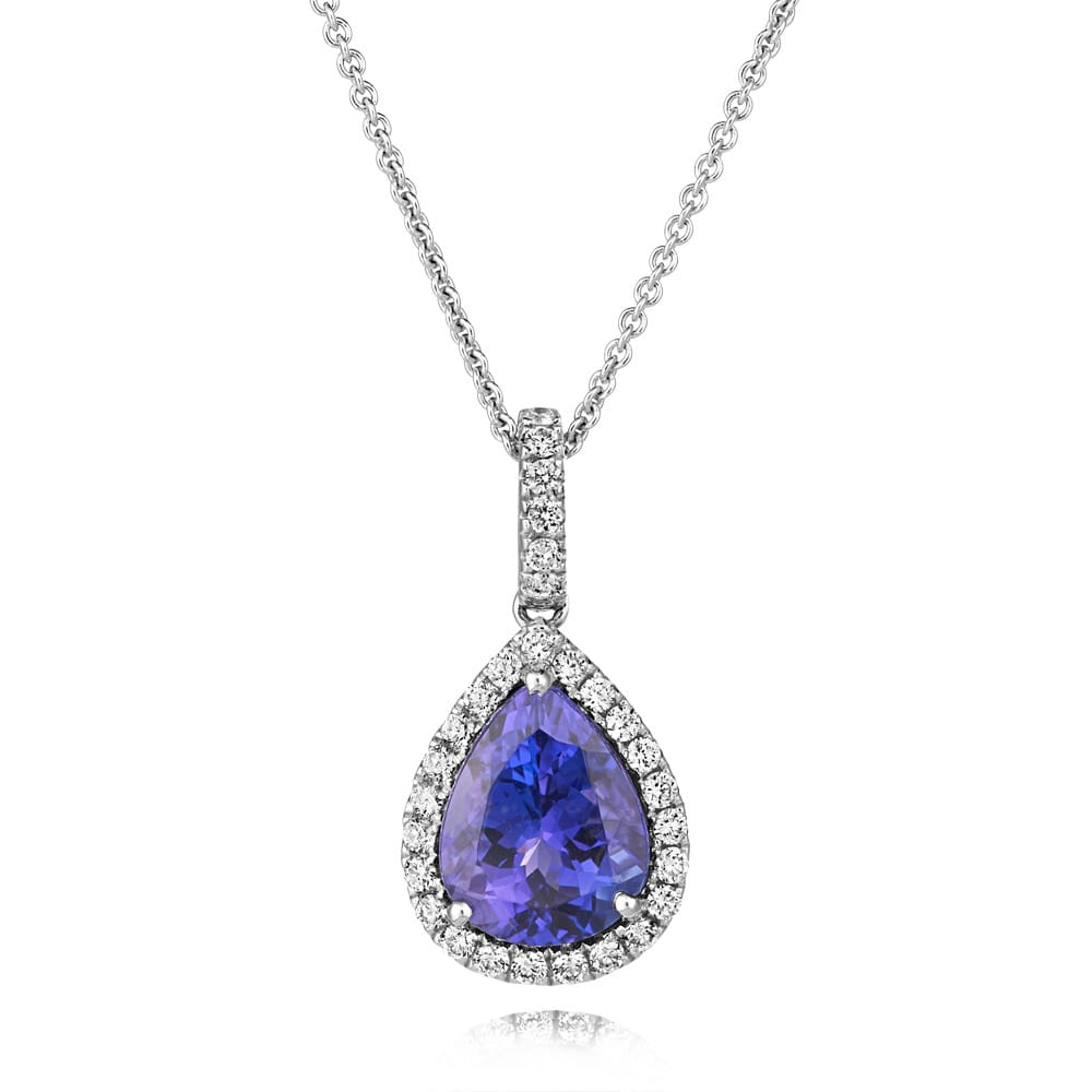 Berrys 18ct white gold pear shaped tanzanite diamonds pendant 18ct white gold pear shaped tanzanite amp diamond cluster pendant mozeypictures Choice Image