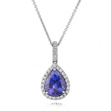 Berry's 18ct White Gold Pear Shaped Tanzanite & Diamond Cluster Pendant
