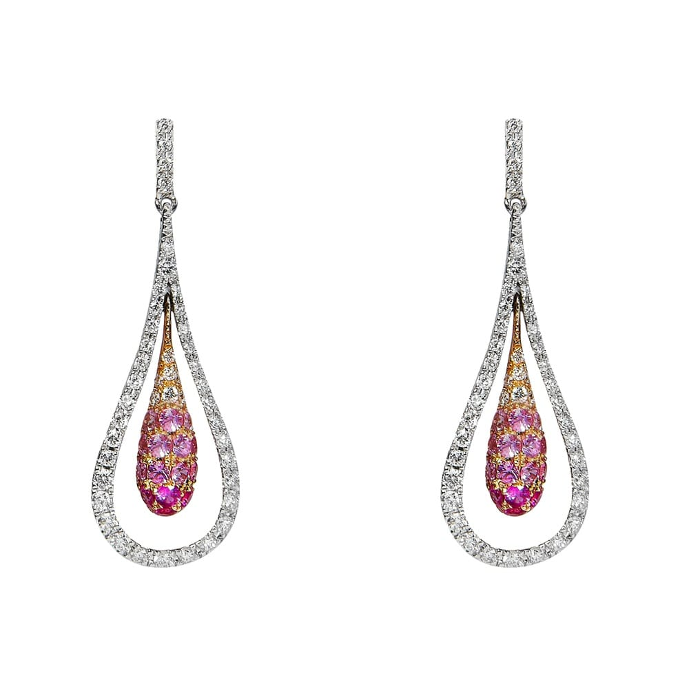 18ct white gold pink sapphire amp diamond drop earrings