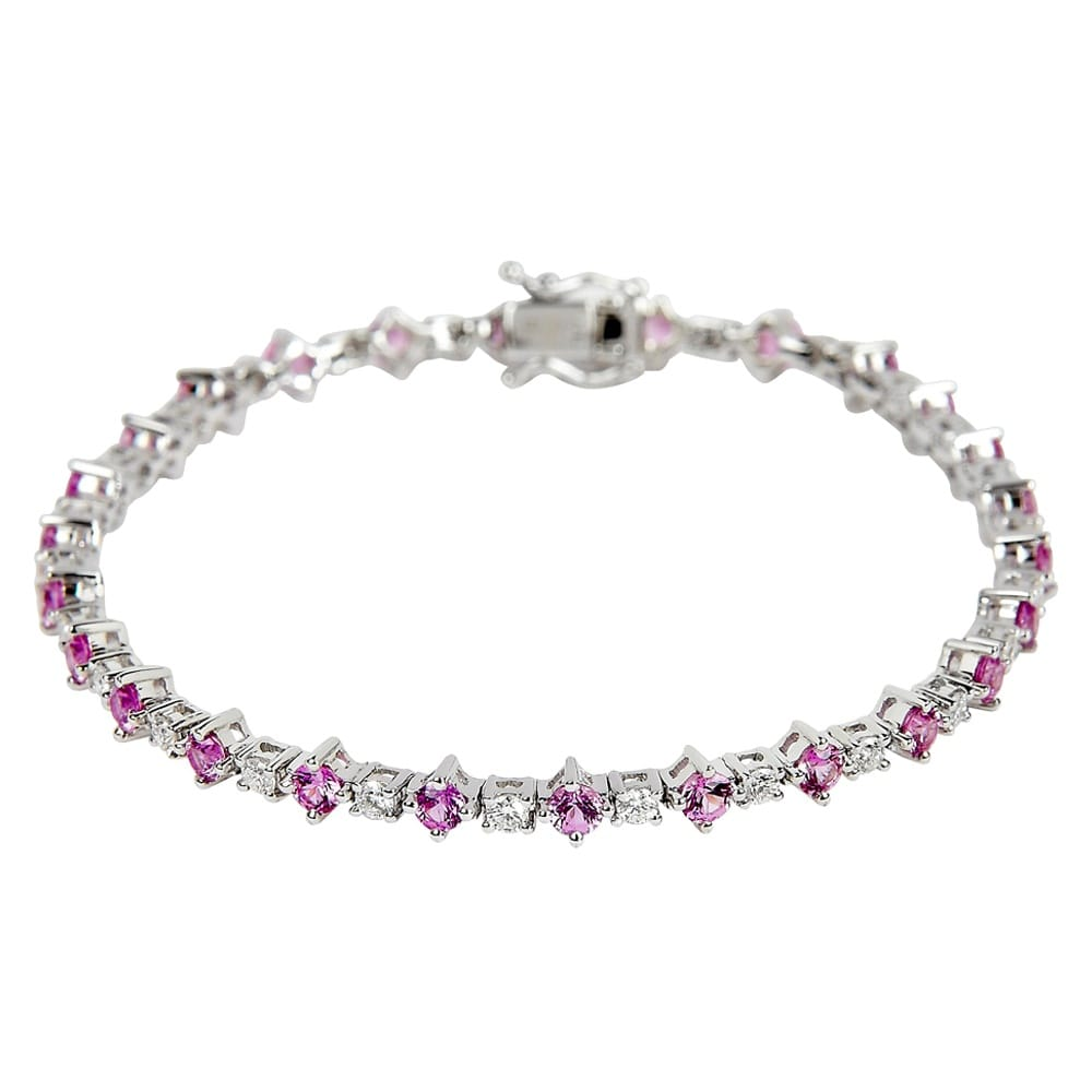 White Gold Pink Sapphire Amp Diamond Bracelet From Berry S