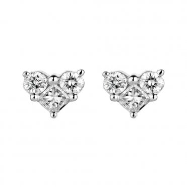 18ct White Gold Princess & Brilliant Cut Diamond Stud Earrings