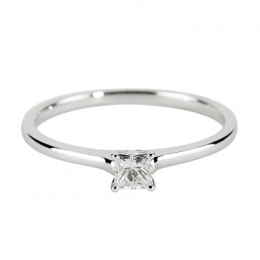 18ct White Gold Princess Cut Diamond Ring From The Petite Range