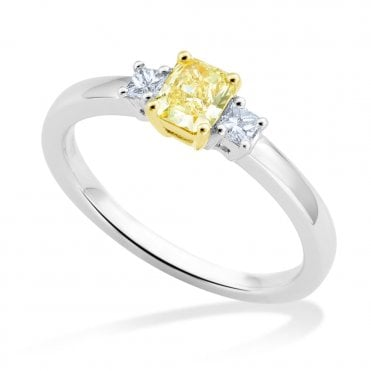 Berry's 18ct White Gold Princess Cut Yellow Diamond Engagement Ring