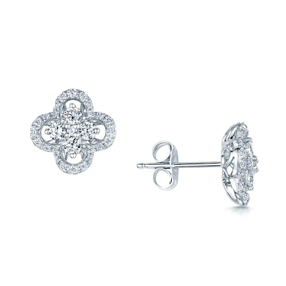f1e6f68fff15 18ct White Gold Quatrefoil Diamond Set Stud Earrings