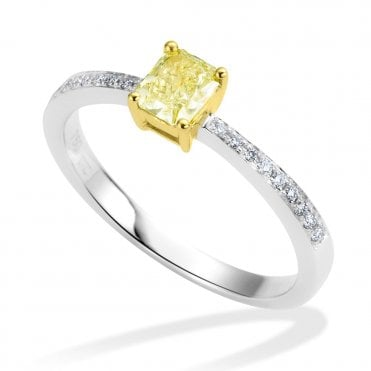 18ct White Gold Radiant Cut Yellow Diamond Set Engagement Ring