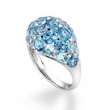 18ct White Gold Rose Cut Blue Topaz & Domed Design Dress Ring