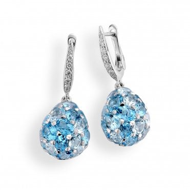 18ct White Gold Rose Cut Blue Topaz Tear Drop Design Earrings