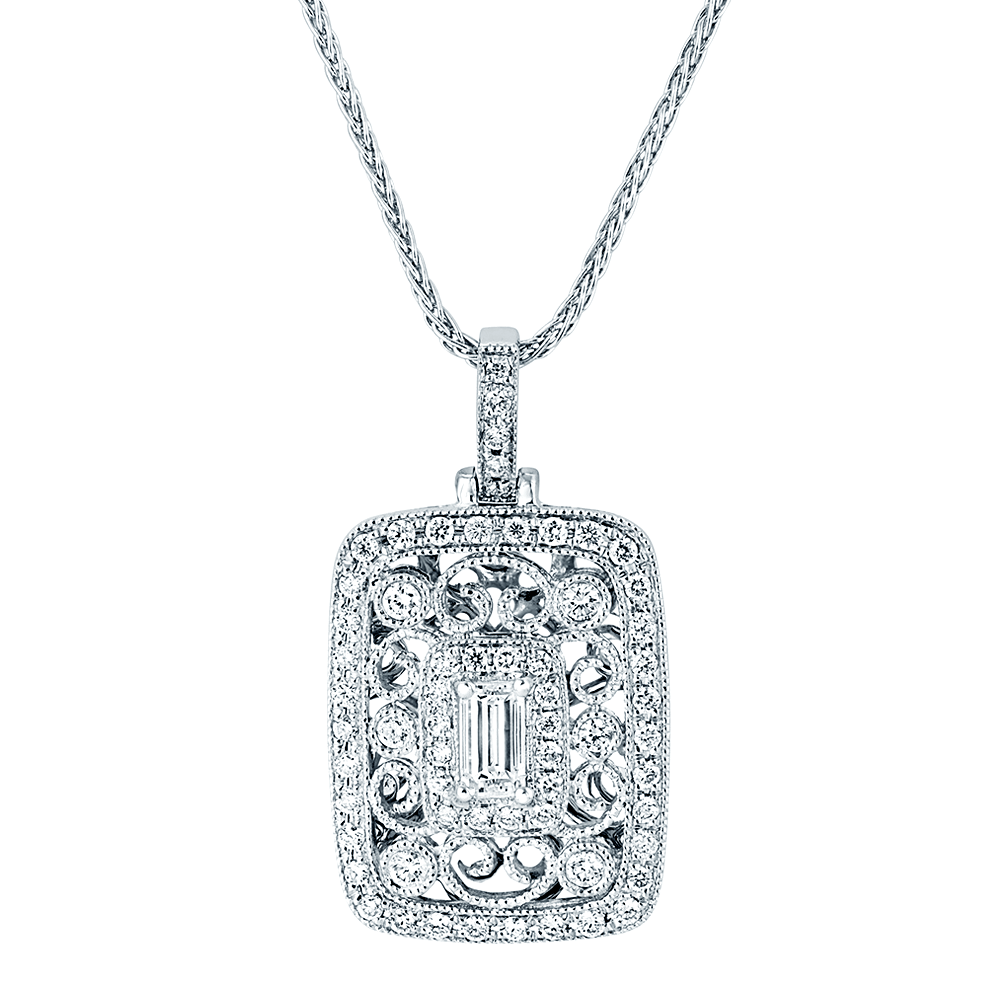 pendant brilliant total set cut round including necklace white gold in chain diamond weight claw
