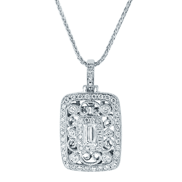 18ct White Gold Round Brilliant & Baguette Cut Diamond Open Rectangular Pendant