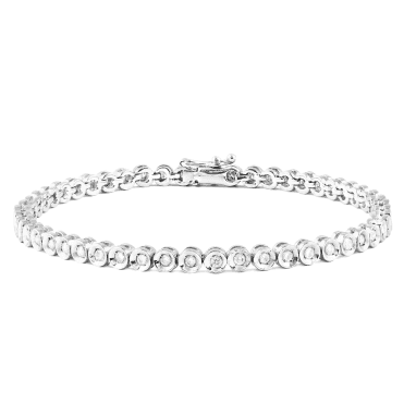 18ct White Gold Round Brilliant Cut Rub Over Set Diamond Line Bracelet