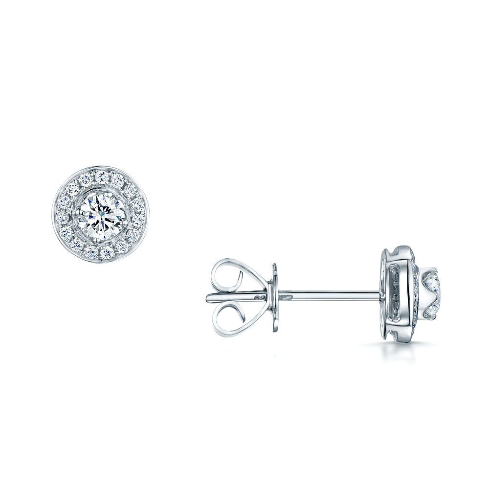 Berry S 18ct White Gold Round Diamond Halo Cluster Stud Earrings