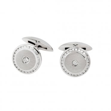 18ct White Gold Round Diamond Set Cufflinks