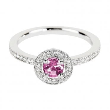 18ct White Gold Round Pink Sapphire & Diamond Set Ring