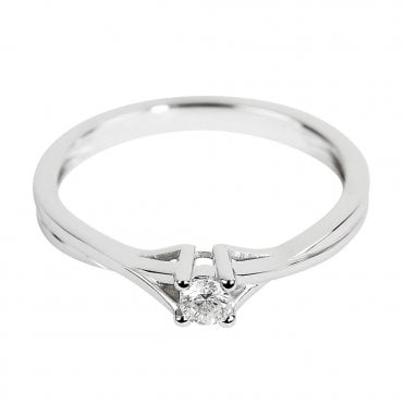 18ct White Gold Round Solitaire Diamond Engagement Ring