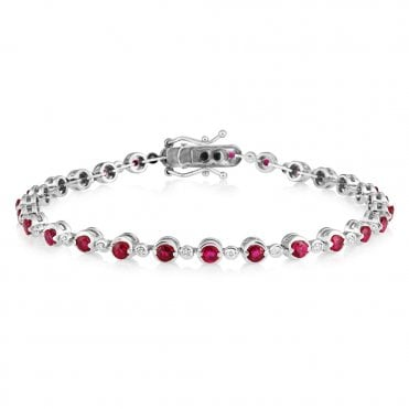 18ct White Gold Rub Over Ruby & Diamond Line Bracelet