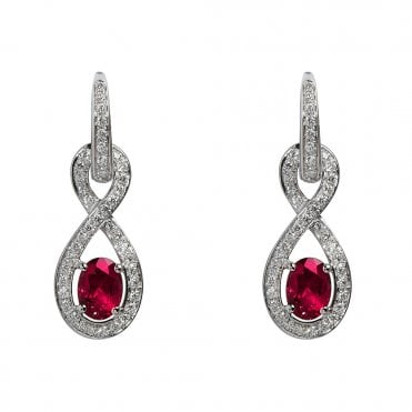 18ct White Gold Rubellite And Diamond Earrings