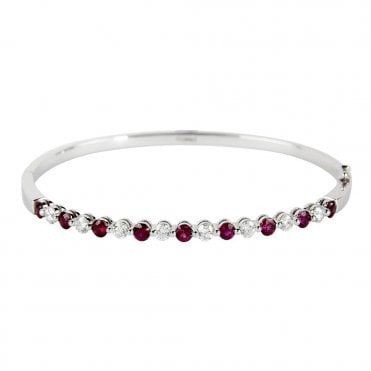 18ct White Gold Ruby And Diamond Bangle