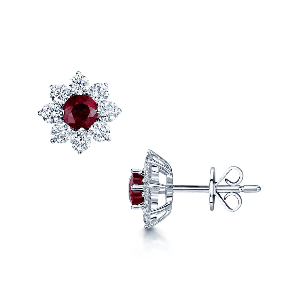 18ct White Gold Ruby And Diamond Flower Cluster Stud Earrings