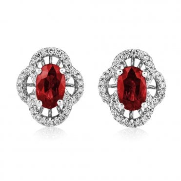 Berry's 18ct White Gold Ruby And Diamond Vintage Style Earrings