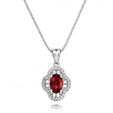 Berry's 18ct White Gold Ruby And Diamond Vintage Style Necklace