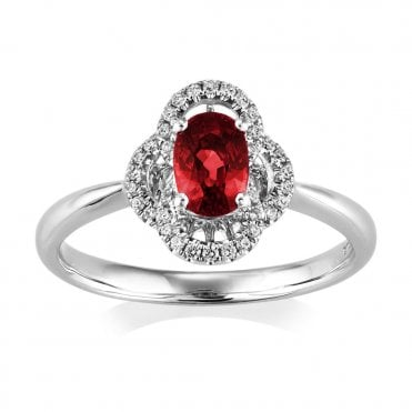 Berry's 18ct White Gold Ruby And Diamond Vintage Style Ring