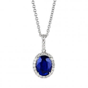 18ct White Gold Sapphire And Diamond Cluster Necklace
