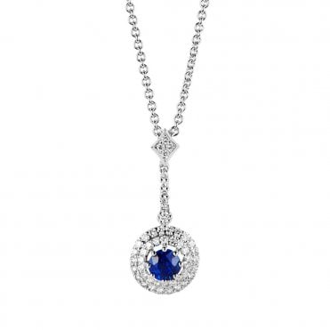 Berry's 18ct White Gold Sapphire And Diamond Cluster Style Necklace