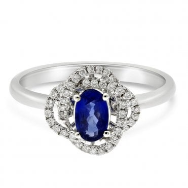 18ct White Gold Sapphire And Diamond Knot Design Ring